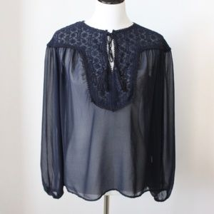 Zara Sheer Blouse Size XS Navy Blue Long Sleeve